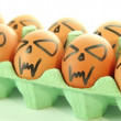 Scary vampire crazy eggs for halloween on white background — Stock Video