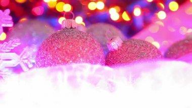 Noel topları, ufuk ışık arka plan dekorasyon — Stok video