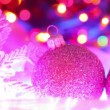 Christmas decoration, colorful balls on defocused lights backgrounds — Stock Video