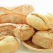 Fresh baked group of different bread products — Stock Video