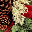 Beautiful traditional Christmas decoration background with xmas tree branch — Stock Video #34426349