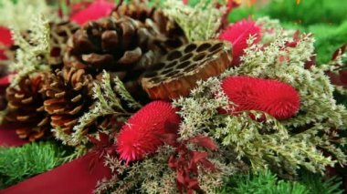 Beautiful traditional Christmas decoration background with xmas tree branch — Stock Video