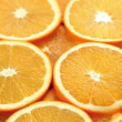 Sliced orange, fresh and juicy slices of orange motion background — Stock Video
