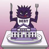 Monster debt. — Stock Vector