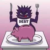 Debt and piggy bank. — Stock Vector