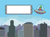 Flying saucer with a banner over the city. — ストックベクタ