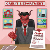 Devilish credit. — Stock Vector
