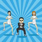 Caricature of gangnam dance. — Stock Vector