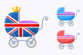 English Baby Carriages — Stock Vector