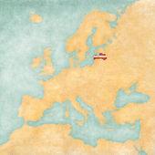 Map of Europe - Latvia (Vintage Series) — Stock Photo