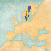 Map of Europe - Sweden (Vintage Series) — Stock Photo