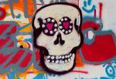 конфеты череп граффити на коньках и bmx парк — Стоковое фото
