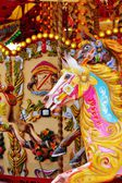 Vintage carousel merry-go-round painted horses — Stock fotografie
