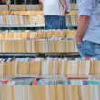 Books at book market stall (no names visible) — Stock Photo