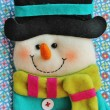 Snowman with modern color pattern background — Stock Photo