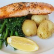 Grilled Atlantic salmon with potatoes, seasonal greens and a lemon wedge — Stock Photo