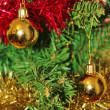 Christmas decorations for tree in gold glitter and red — Stock Photo #35613885