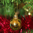 Christmas decorations for tree in gold glitter and red — Stock Photo
