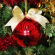 Stock Photo: Christmas decorations for tree in gold glitter and red