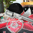 Bandit sombrero and revolver gun — Foto Stock