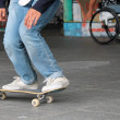Young teen friends on skateboard — Stock Photo