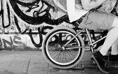 BMX Bike rider resting on his bike — Stock Photo