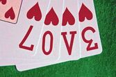 Word LOVE Playing Cards Hearts — Stock Photo