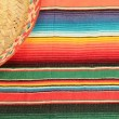 Постер, плакат: Mexico fiesta poncho serape rug blanket sombrero background copy space