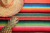 Coperta poncho di Fiesta in colori vivaci con sfondo sombrero con spazio copia con ananas — Foto Stock
