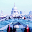 St Pauls cathedral and Millennium Bridge, London, UK — Stock Photo