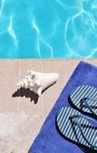 Poolside holiday vacation scenic — Stockfoto