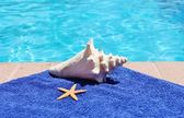 Poolside holiday vacation scenic swimming pool summer sunglasses shell towel starfish — Stock Photo