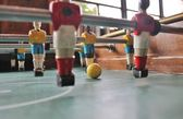 Soccer Brazil shirts Tabletop Foosball football in team colors — Stock Photo