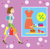 Happy shopping kvinna — Stockvektor