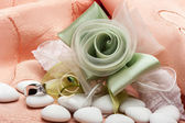 Wedding favors and ring — Stok fotoğraf