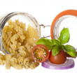 Fusilli with tomato and onion — Stock Photo