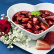 Stock Photo: Strawberries with red wine
