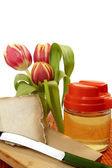 Cheese,honey and tulip — Stock Photo