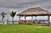 Wooden hut with a roof of palm leaves — Stock Photo