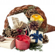 Cornucopia with gifts — Stock Photo