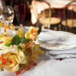 Table set for two spouses — Stock Photo