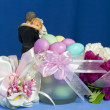 Arrangement with flowers and candy boxes — Stock Photo