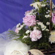 Stock Photo: Weeding Favors ,wedding rings and flowers