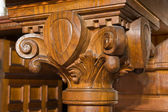 Details of an antique fireplace coppedè — Stock Photo