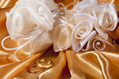 wedding rings on colorful fabric  — Stock Photo