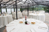 Wedding table in the castle — Stock Photo
