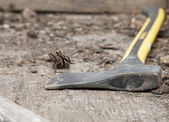 Axe On Ground — Stock Photo
