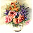 Orginal watercolor painting lovely lilies in vase — Stock Photo