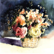 Orginal watercolor painting lovely mix roses in basket — Stock Photo