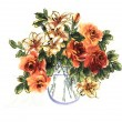 Orginal watercolor painting lovely lilies and roses in vase — Stock Photo